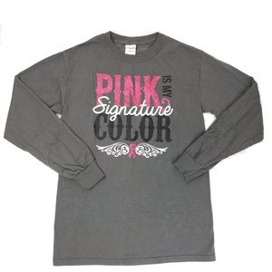 Breast Cancer Awareness Long Sleeve Grey T-shirt S